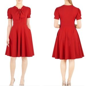 Eshakti red tie neck cotton fit and flare dress